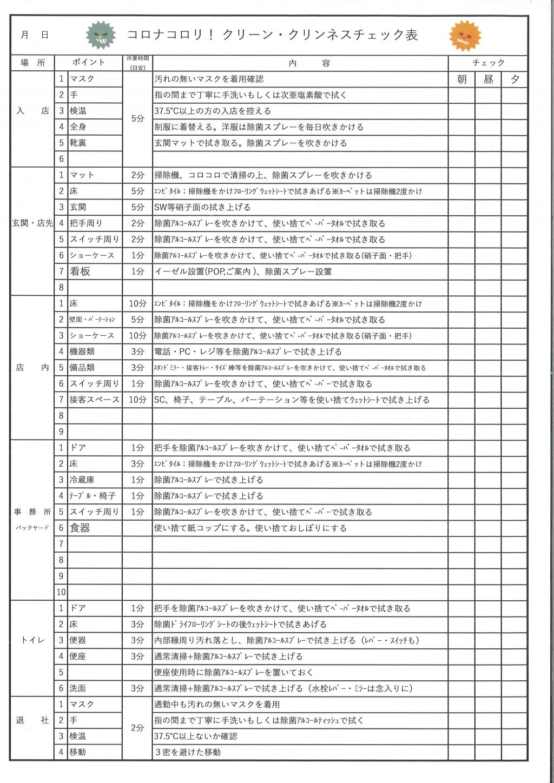 クリンネスチェック表